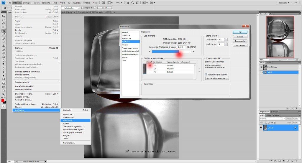 Aumentare prestazioni Photoshop trucchi e consigli