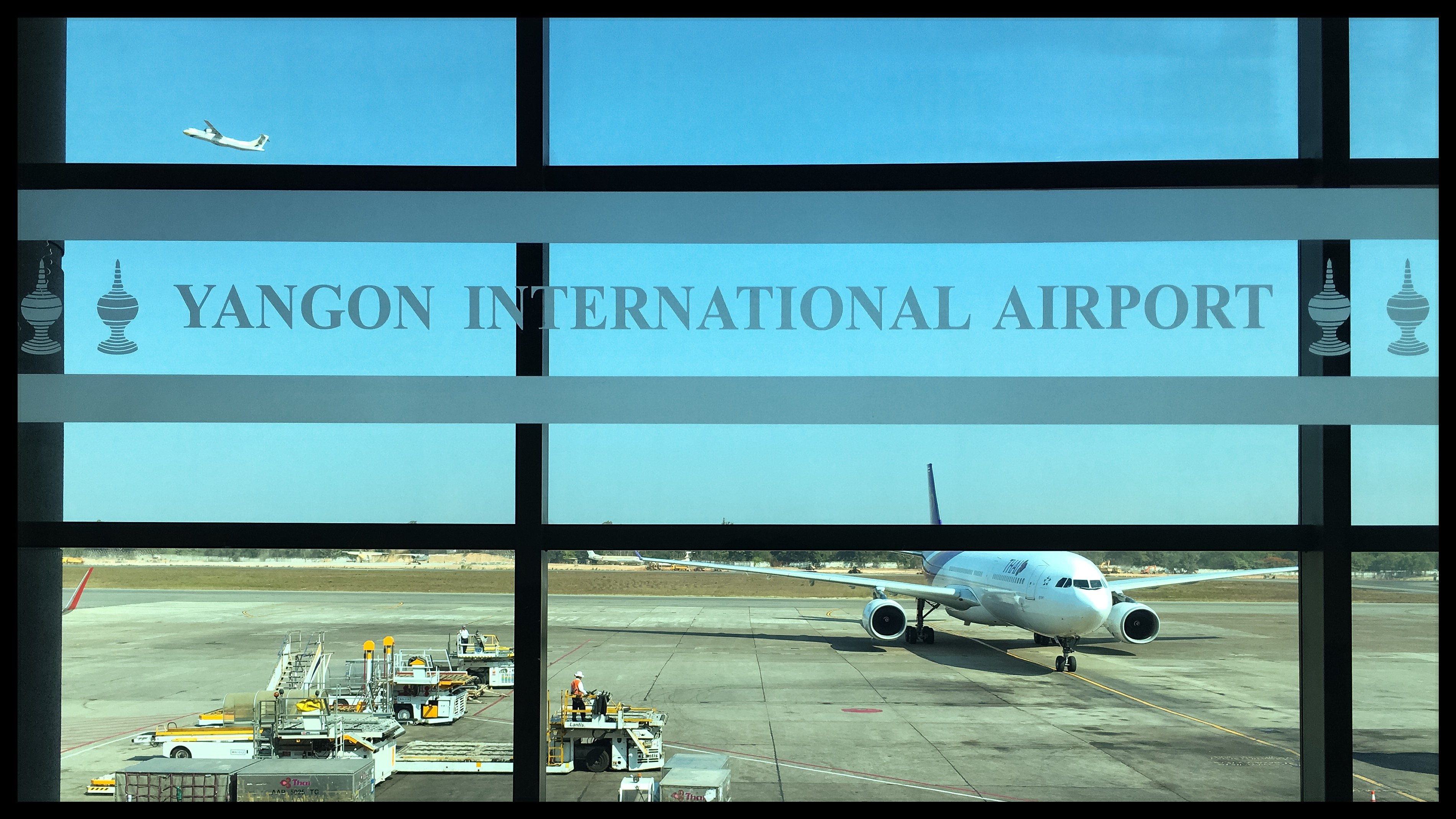 Arrivo all'aeroporto di Yangon, Myanmar