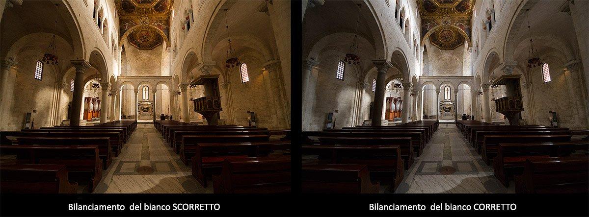 Esempio di una foto prima e dopo il bilanciamento del bianco con Adobe Photoshop