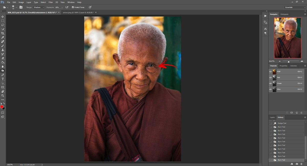 Passo 5: Ravvivare gli occhi con Photoshop