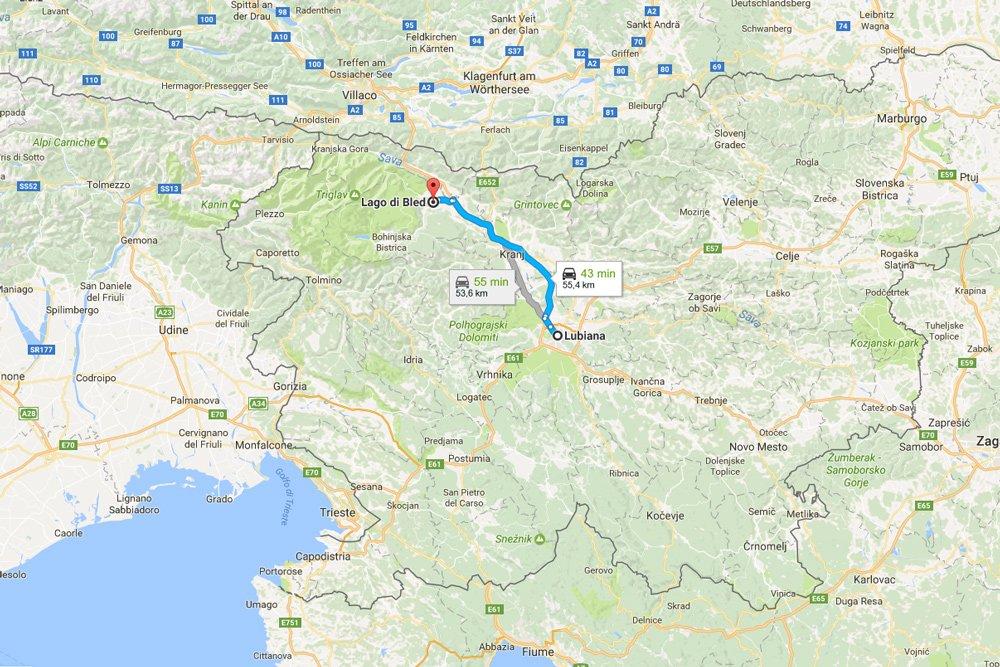 Mappa del percorso tra Lubiana e Bled