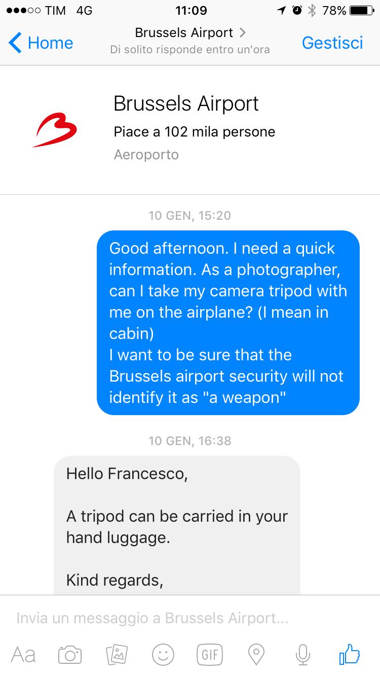Posso portare il cavalletto nel bagaglio a mano? La risposta dell'aeroportuale dell'aeroporto di Bruxelles