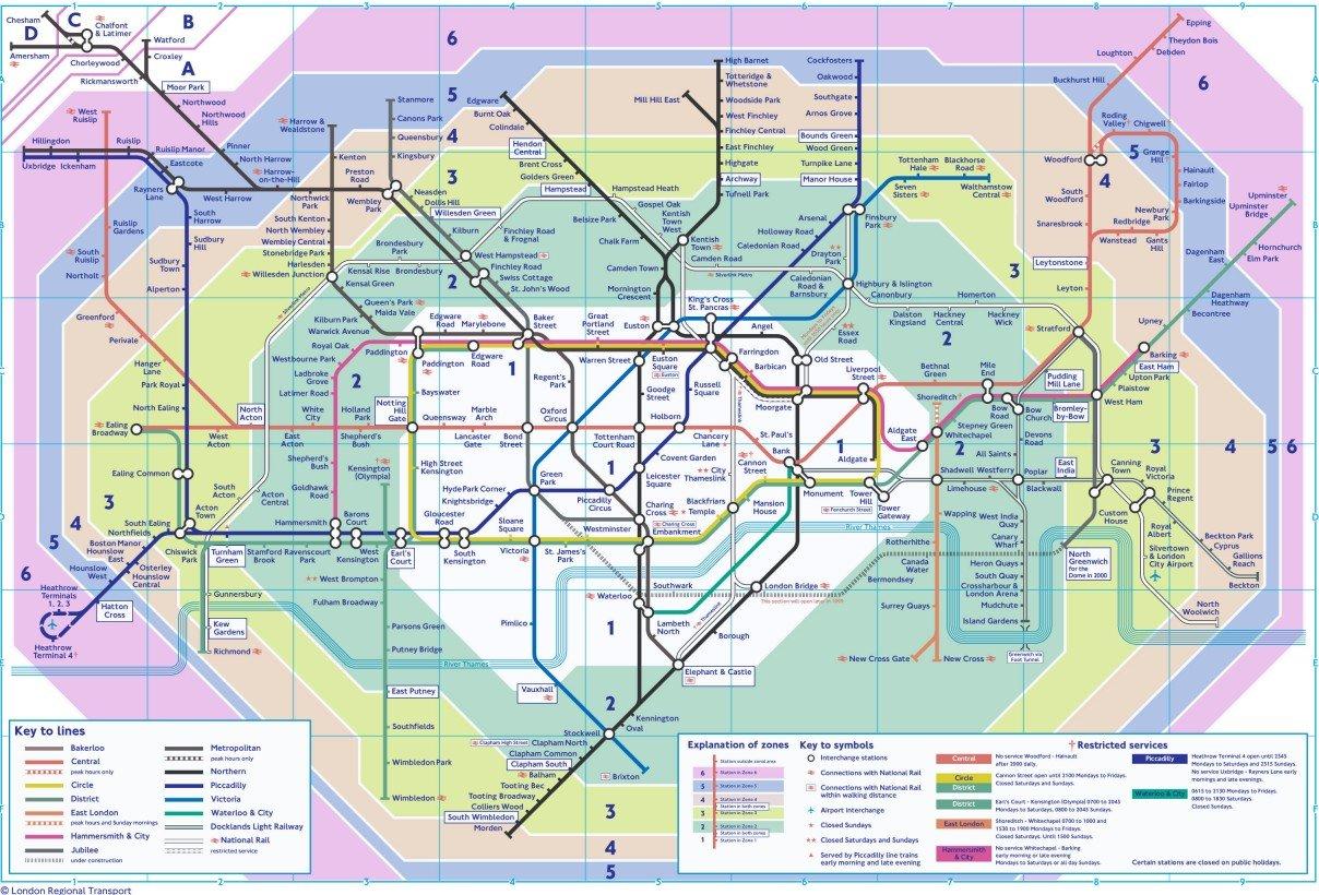 Mappa della metropolitana di Londra divisa in Zone