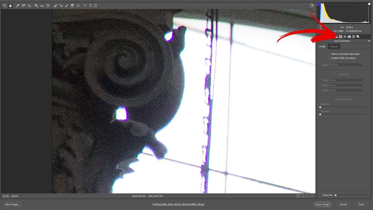 Correggere le Aberrazioni Cromatiche con Camera Raw - Passo 2