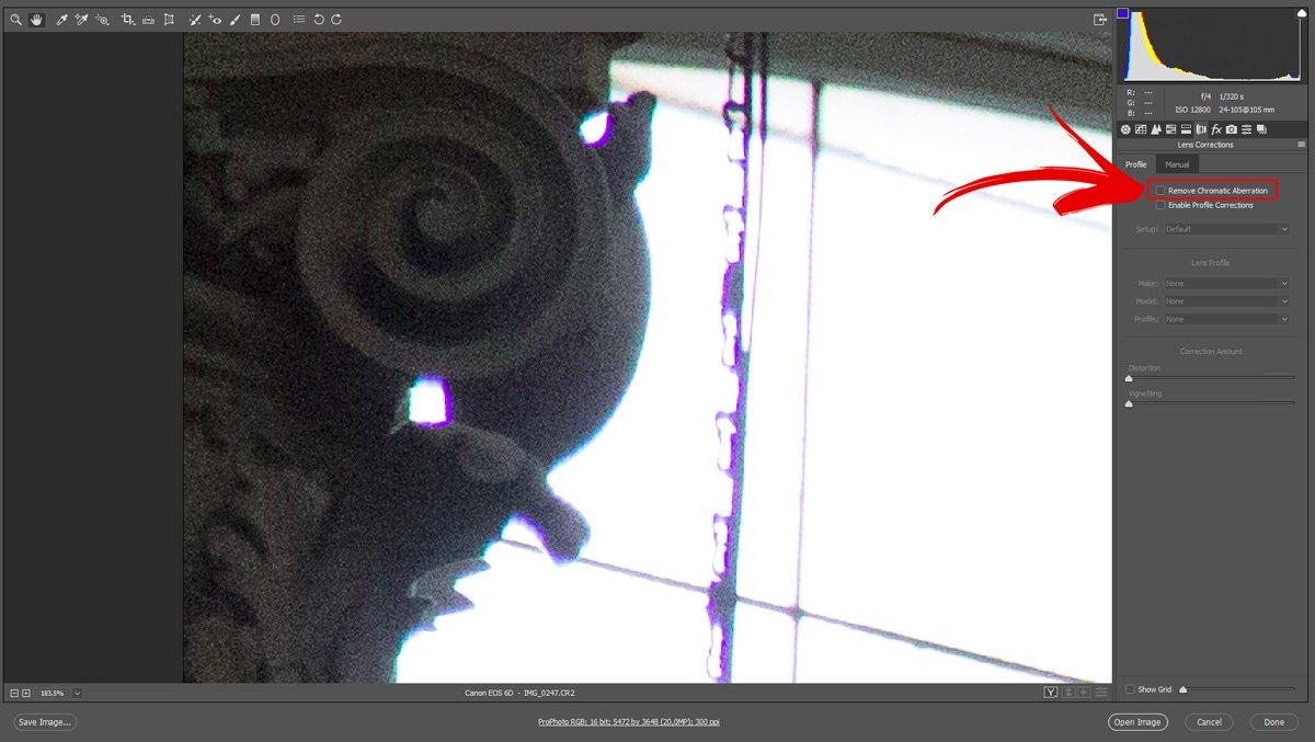 Correggere le Aberrazioni Cromatiche con Camera Raw - Passo 3