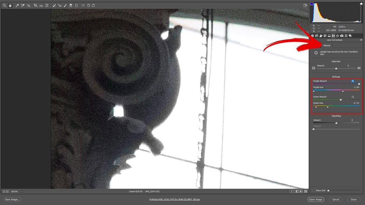 Correggere le Aberrazioni Cromatiche con Camera Raw - Passo 4