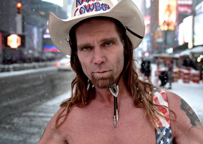 Ritratto America USA New York Naked Cowboy Neve Times Square