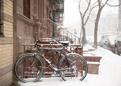 Bicicletta Neve Nevica New York Chelsea Manhattan USA America