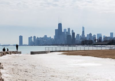 Chicago Grattacieli neve Lago Michigan