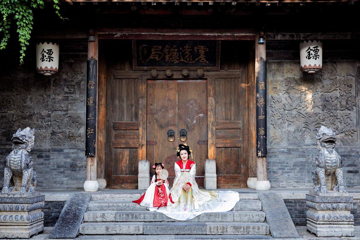 Madre figlia Cina abiti tradizionali